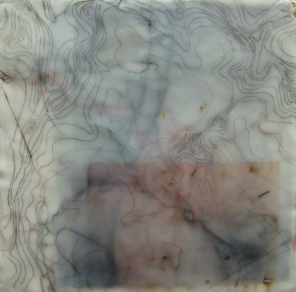 Topography, Encaustic, Embroidery 12